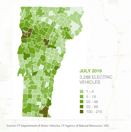 Map of EVs by town in Vermont, July 2019
