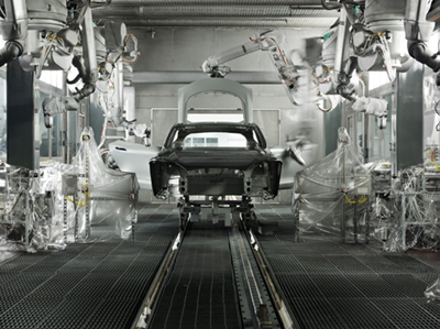 A photo of a Tesla car in the factory