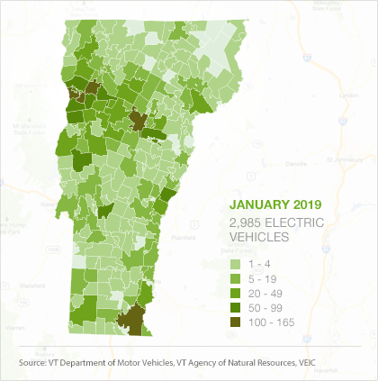 Map of EVs by town in Vermont, January 2019
