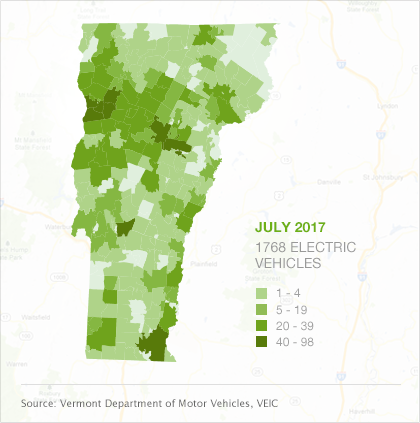 Map of EVs by town in Vermont, July 2017