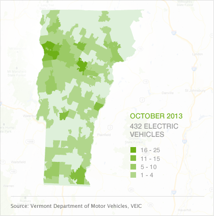 Map of EVs by town in Vermont, October 2013