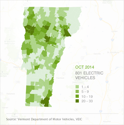 Map of EVs by town in Vermont, October 2014
