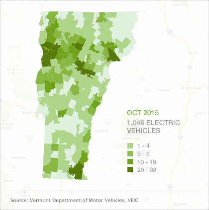 Map of EVs by town in Vermont, October 2015