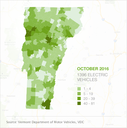 Map of EVs by town in Vermont, October 2016